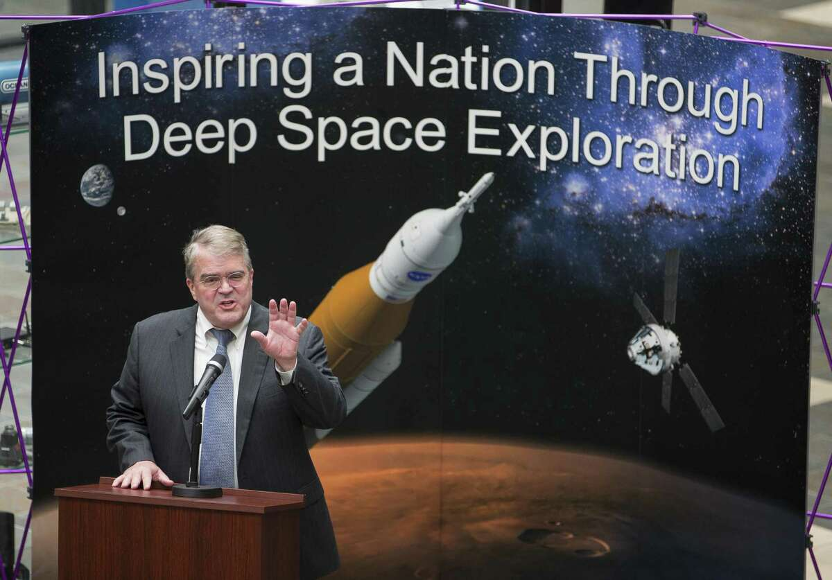 U.S. Representative John Culberson, Chairman of the House Appropriations Subcommittee on Commerce, Justice, and Science, speaks to employees at Oceaneering Space Systems, Monday, April 30, 2018, in Houston. ( Mark Mulligan / Houston Chronicle )
