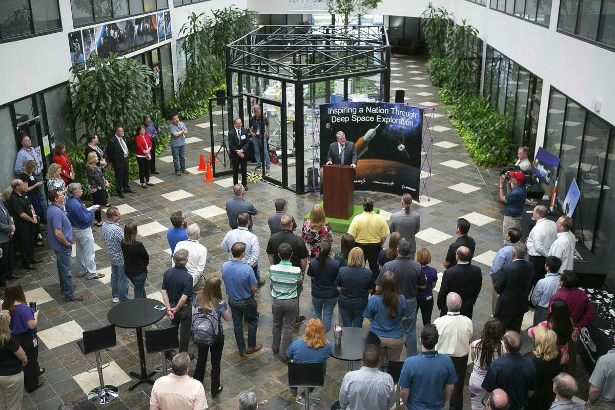 Employees at Oceaneering Space Systems listen to U.S. Representative John Culberson, Chairman of the House Appropriations Subcommittee on Commerce, Justice, and Science, talk about the federal budget for space research, technology and exploration, Monday, April 30, 2018, in Houston. ( Mark Mulligan / Houston Chronicle )