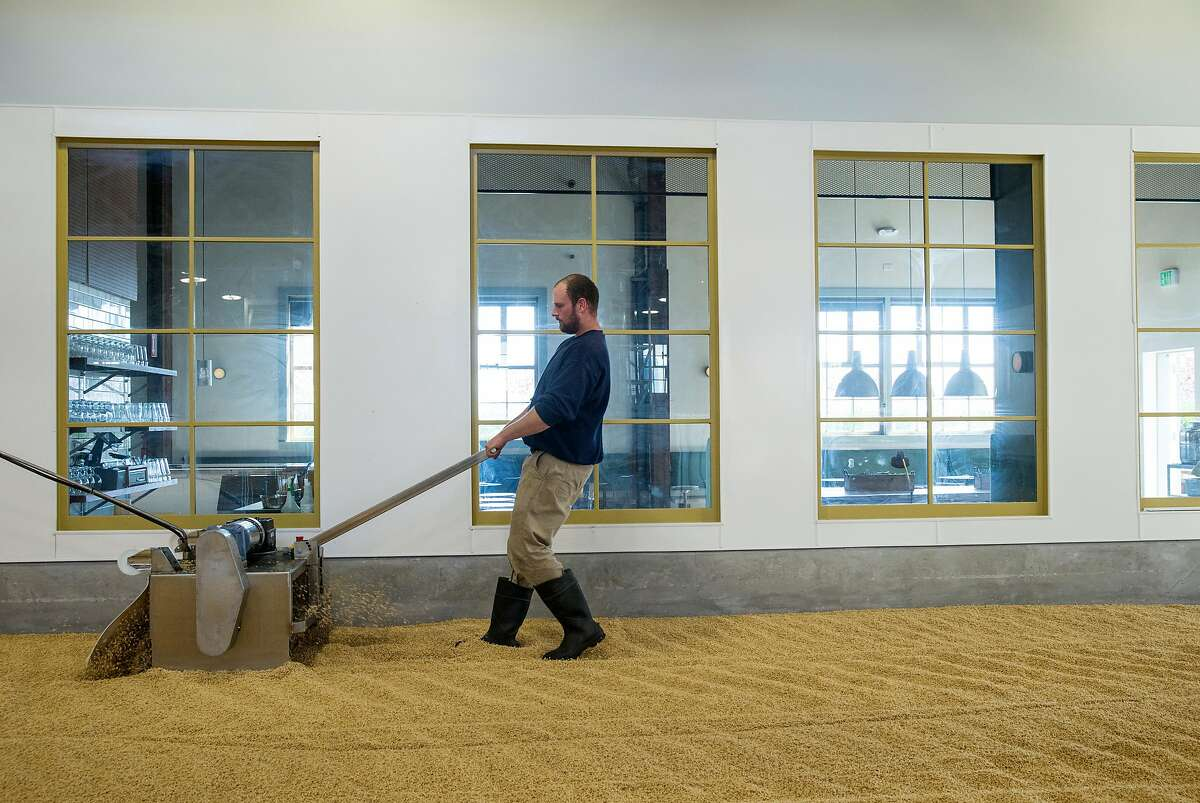 Maltster Zack Reinstein turns barley on the malting floor while working at Admiral Maltings in Alameda, Calif., on Friday, April 27, 2018. Admiral Maltings practices the traditional art of floor malting and they turn their malt on the germination floor by hand. Their pub, The Rake, overlooks the malting floor.