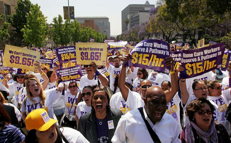 American workers, including Los Angeles County home-care workers, find hourly wages have stagnated and are not enough for workers to support their families. Low wages keeps many people mired in poverty. Photo: Luis Sinco / LA Times Via Getty Images 2015
