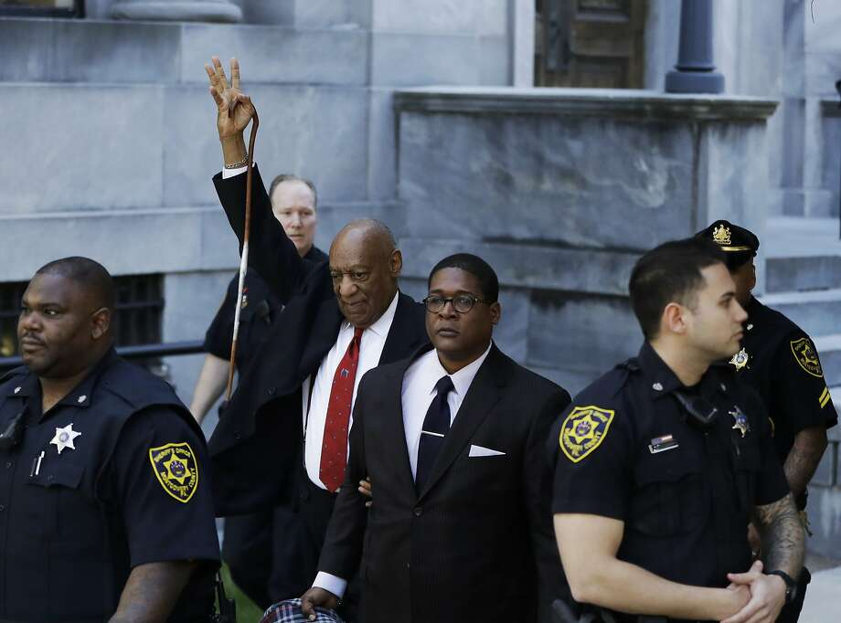 Bill Cosby gestures as he leaves the Montgomery County Courthouse on Thursday, April 26, 2018, in Norristown, Pa. Cosby was convicted Thursday of drugging and molesting a woman in the first big celebrity trial of the #MeToo era. (AP Photo/Matt Slocum) Photo: Matt Slocum / Associated Press