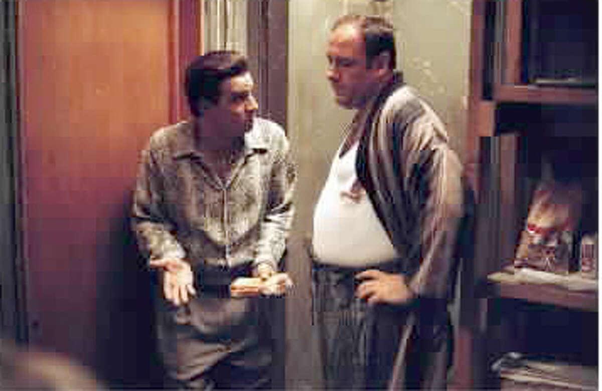 Steve Van Zandt (as Silvio Dante) and James Gandolfini (as Tony Soprano) in a scene from HBO's hit series,