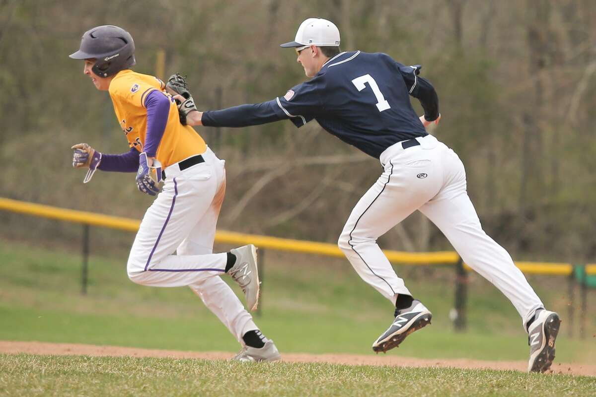 Westhill's Noah Skaug is caught in a rundown during the Wreckers 9-0 victory over Westhill High School in Stamford, Conn. on Monday, April 30, 2018.