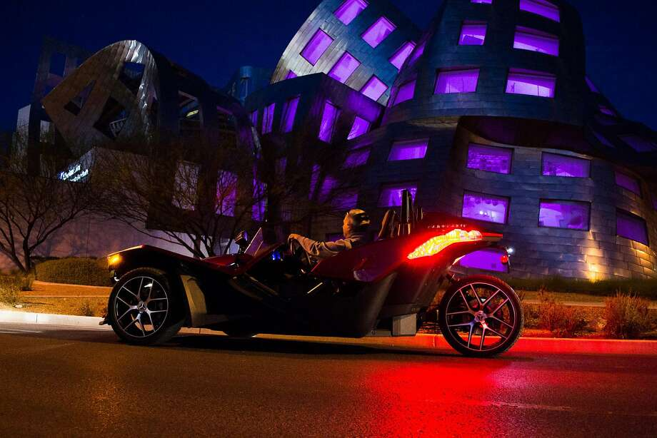 Visitors can tool around town in a three-wheeled Slingshot. Photo: Adrenaline Rush Slingshot Rentals