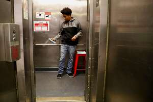 Keeping the space fresh A. J. Bell is one of the new BART elevator attendants working at the Civic Center station in downtown San Francisco, Ca. on Mon. April 30, 2018.