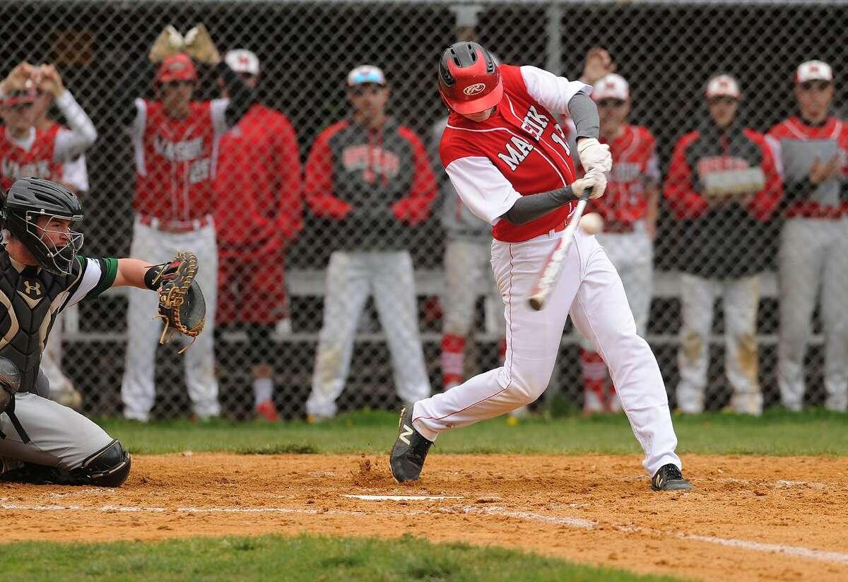 Masuk v. New Milford SWC baseball at Masuk High School in Monroe, Conn. on Monday, April 30, 2018.