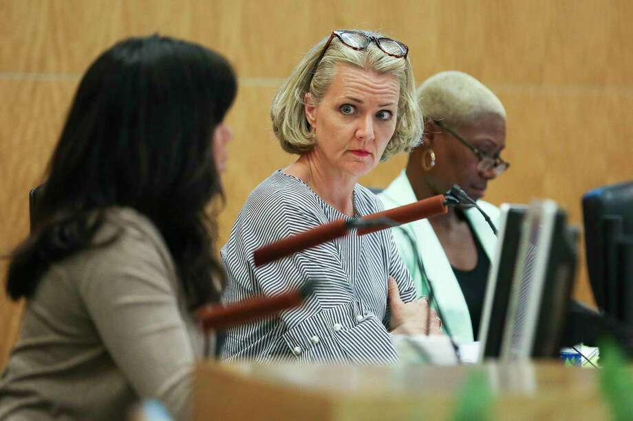Houston ISD Board of Education District V trustee Sue Deigaard listens during an agenda review meeting Monday, April 30, 2018 in Houston. The board did not vote to send a plan to the Texas Education Agency by the Monday deadline, which could have prevented the state takeover or closure of 10 long struggling schools. Photo: Michael Ciaglo, Houston Chronicle / Michael Ciaglo