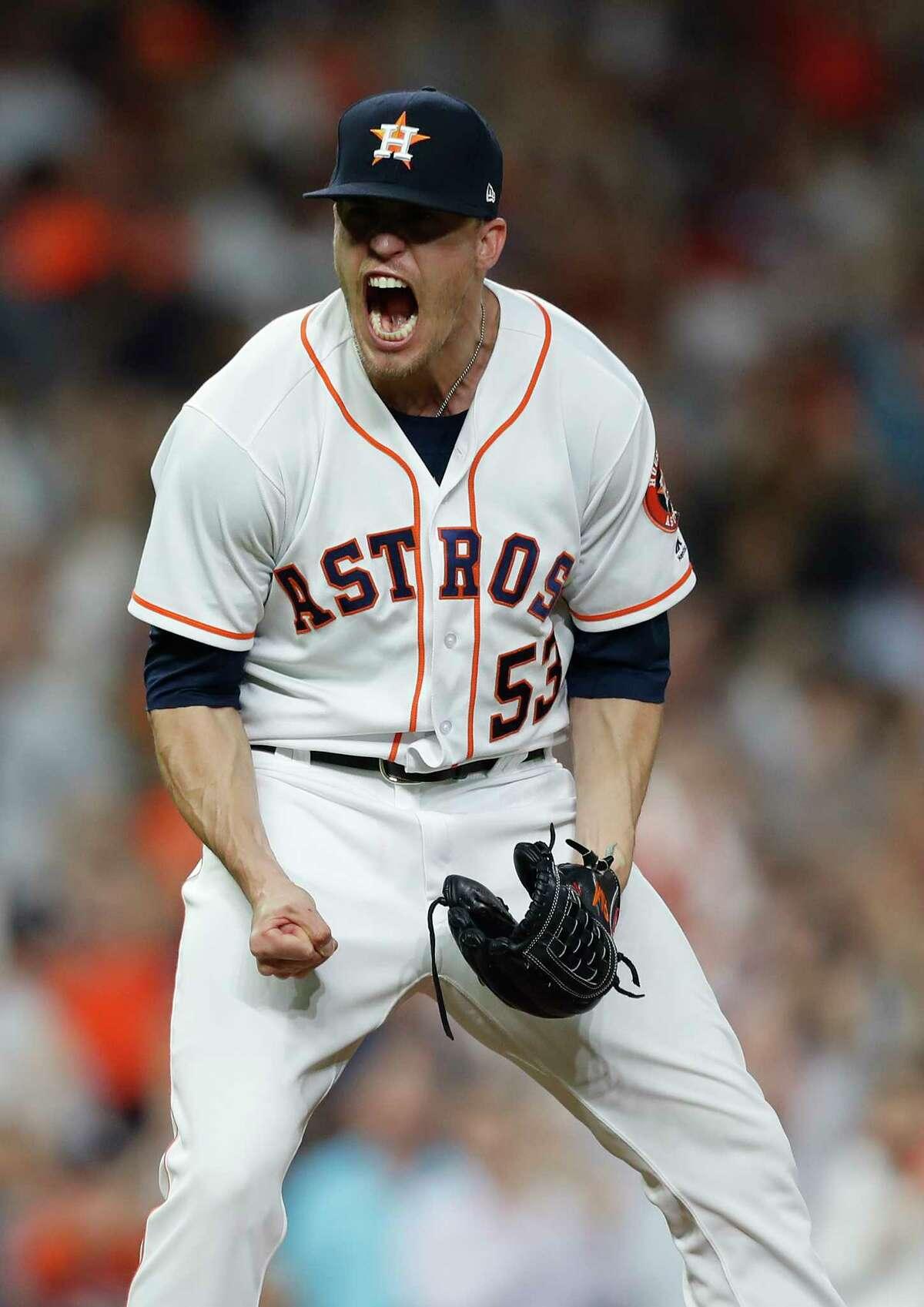 Houston Astros relief pitcher Ken Giles (53) reacts after striking out New York Yankees Didi Gregorius to end the ninth inning of an MLB game at Minute Maid Park, Friday, April 27, 2018, in Houston.