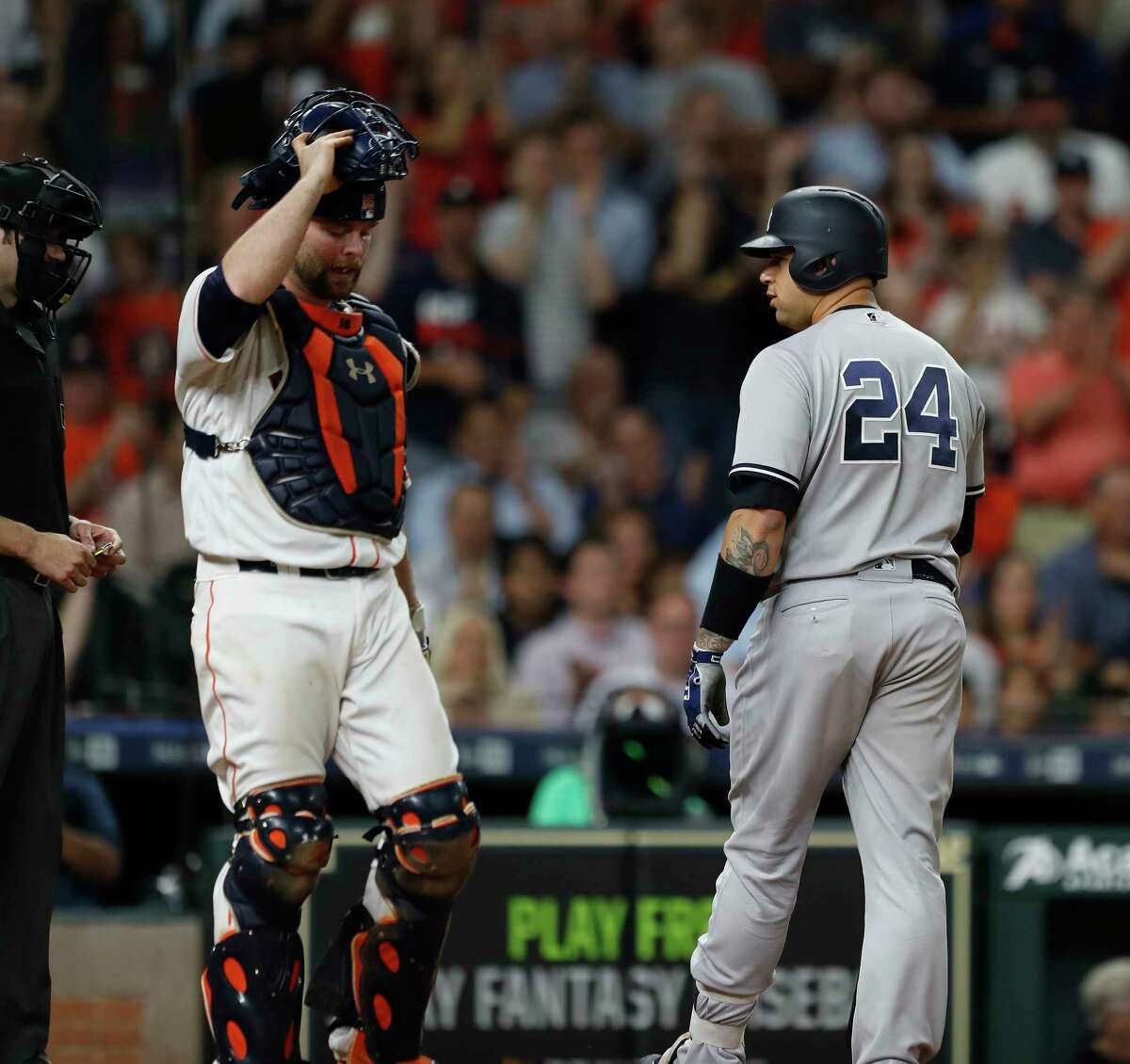 New York Yankees catcher Gary Sanchez (24) reacts after striking out during the ninth inning of an MLB game at Minute Maid Park, Friday, April 27, 2018, in Houston.
