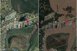 >> See the startling before and after satellite images of Harvey flooding in Houston...