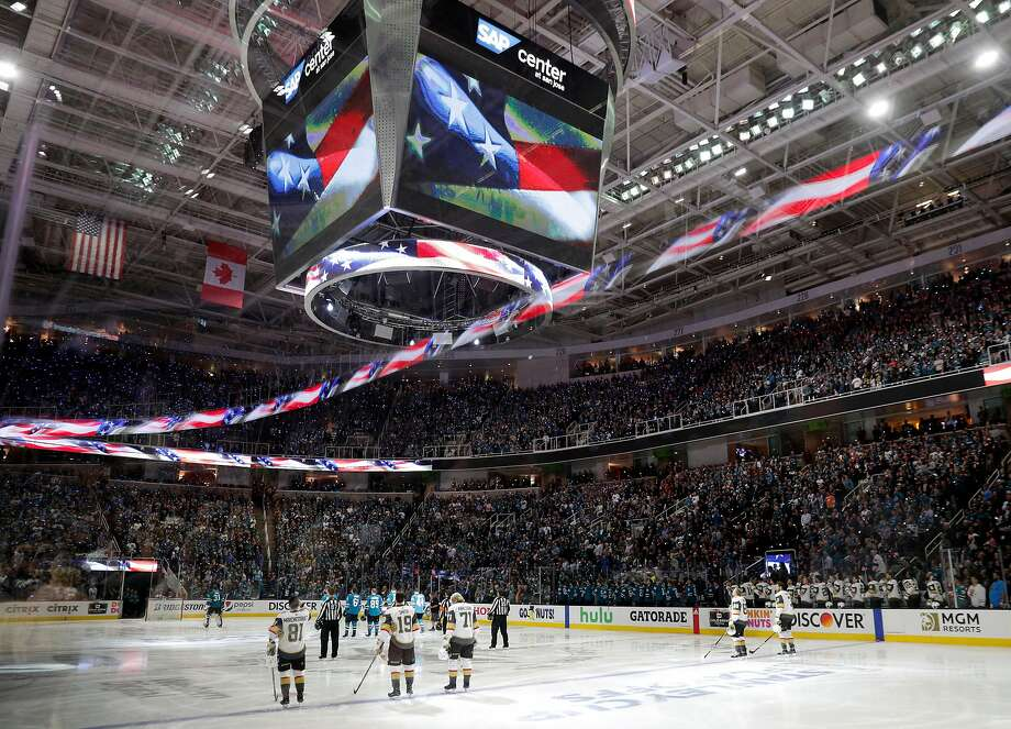 Teams lined up during the National anthem before the San Jose Sharks played the Vegas Golden Knights in Game 1 of the second round of the NHL Stanley Cup Playoffs at SAP Center in San Jose, Calif., on Monday, April 30, 2018. Photo: Carlos Avila Gonzalez, The Chronicle