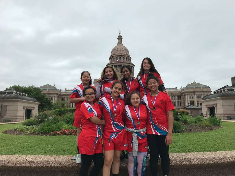 The Laredo Catan middle school girls' rugby team will compete with three other teams from Texas for the state championship on Saturday in Celina. Photo: Courtesy Photo