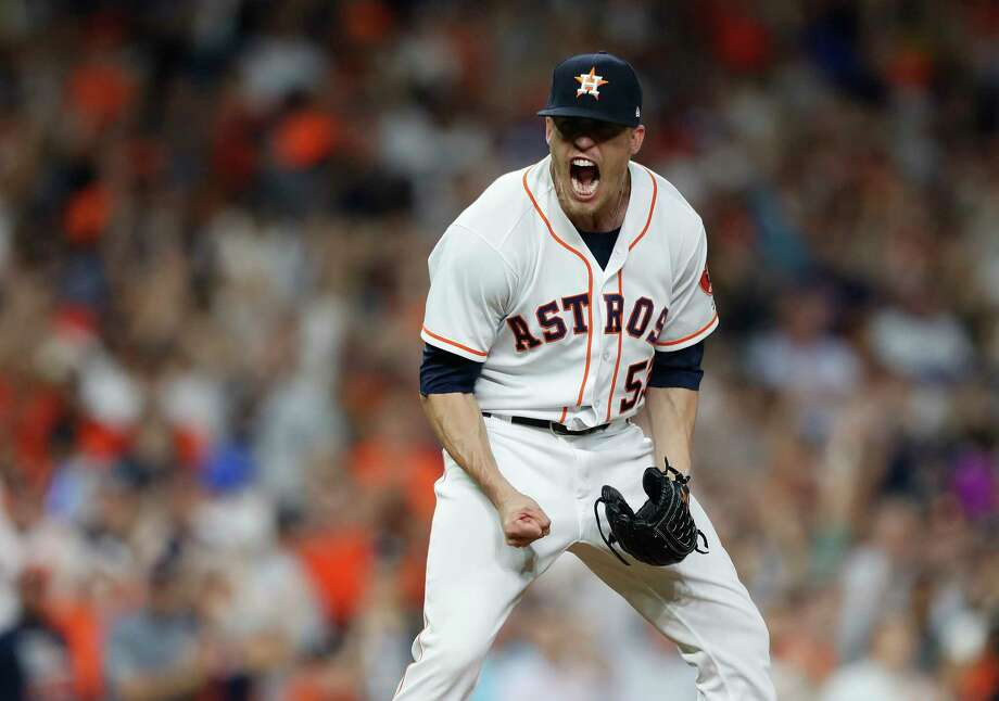 Astros reliever Ken Giles (53) reacts after striking out the Yankees' Didi Gregorius to end Monday's game. Photo: Karen Warren, Houston Chronicle / © 2018 Houston Chronicle