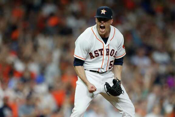 Houston Astros relief pitcher Ken Giles (53) reacts after striking out New York Yankees Didi Gregorius to end the ninth inning of an MLB game at Minute Maid Park, Monday, April 30, 2018, in Houston.