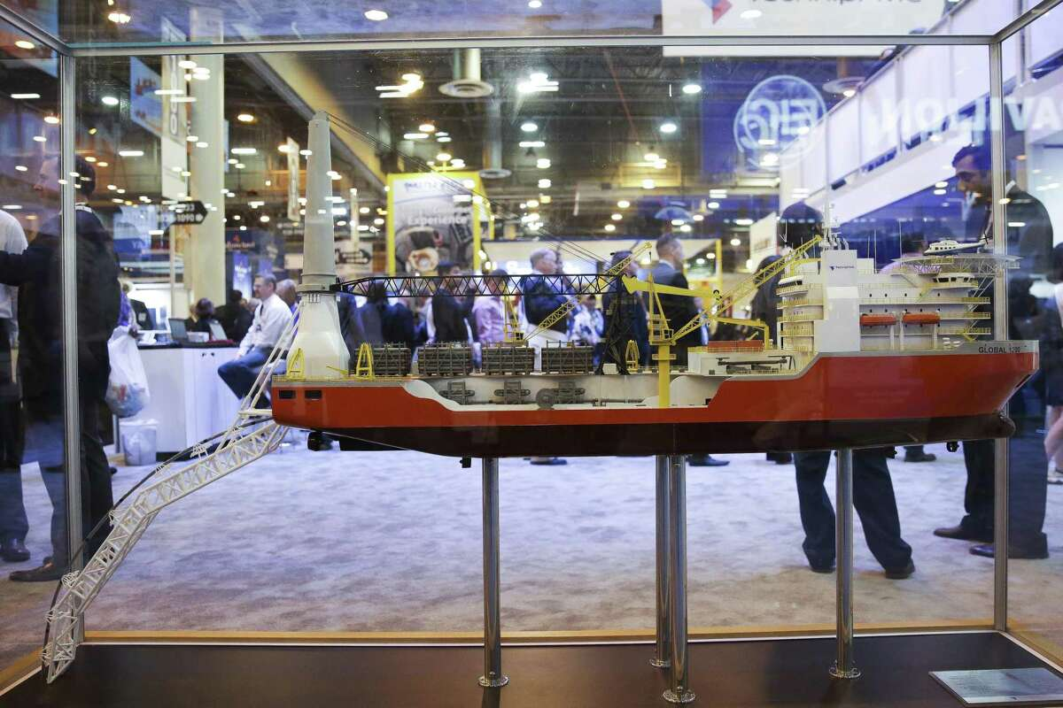 A model of the TechnipFMC M/V Global 1200 at the Offshore Technology Conference at NRG Center Tuesday, May 2, 2017 in Houston. ( Michael Ciaglo / Houston Chronicle)