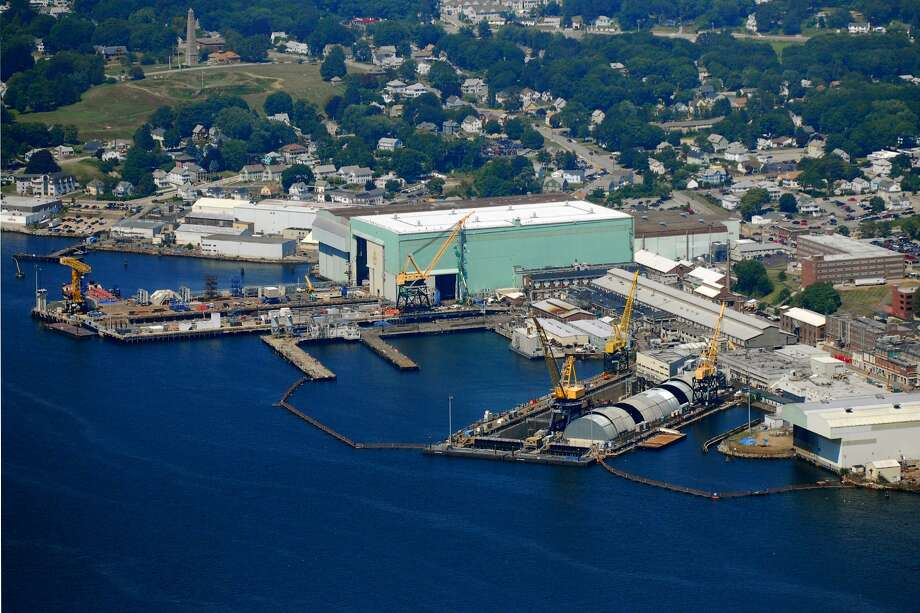 The General Dynamics Electric Boat plant in Groton, Conn. Photo: Morgan Kaolian AEROPIX / Morgan Kaolian AEROPIX / Morgan Kaolian AEROPIX