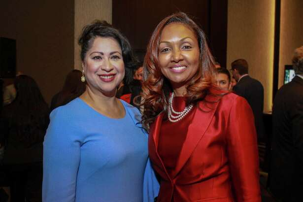 Dr. Laura Murillo, left, and Melanie Flowers at a reception for the Houston Hispanic Chamber of Commerce annual Luncheon and Business Expo.
