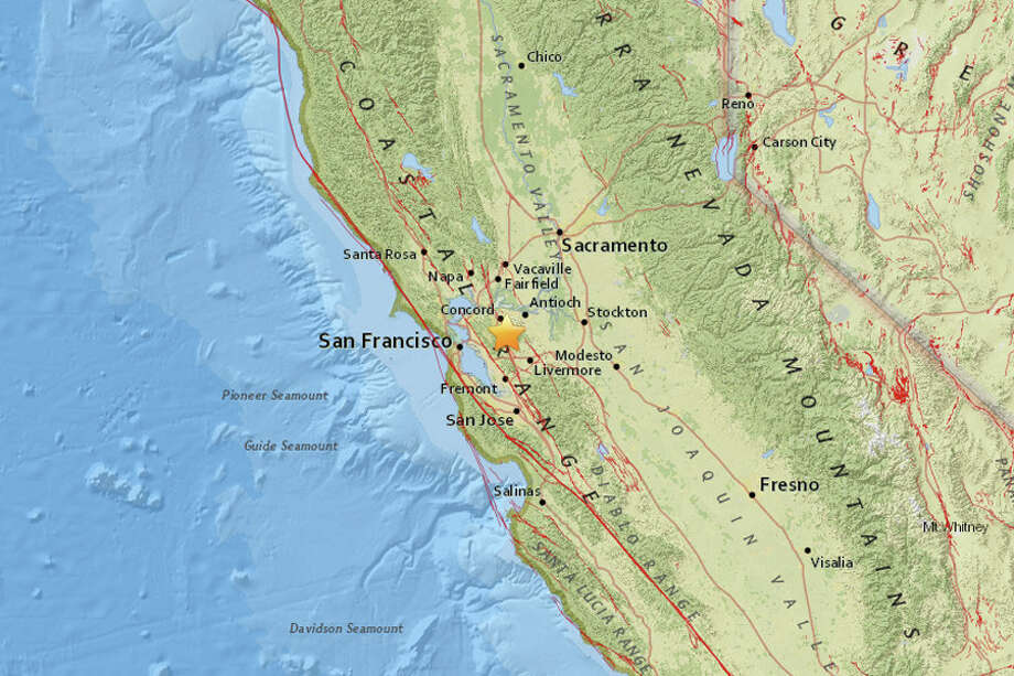 A magnitude 2.6 earthquake struck near Diablo, California on Tuesday morning, May 1, 2018. Photo: USGS