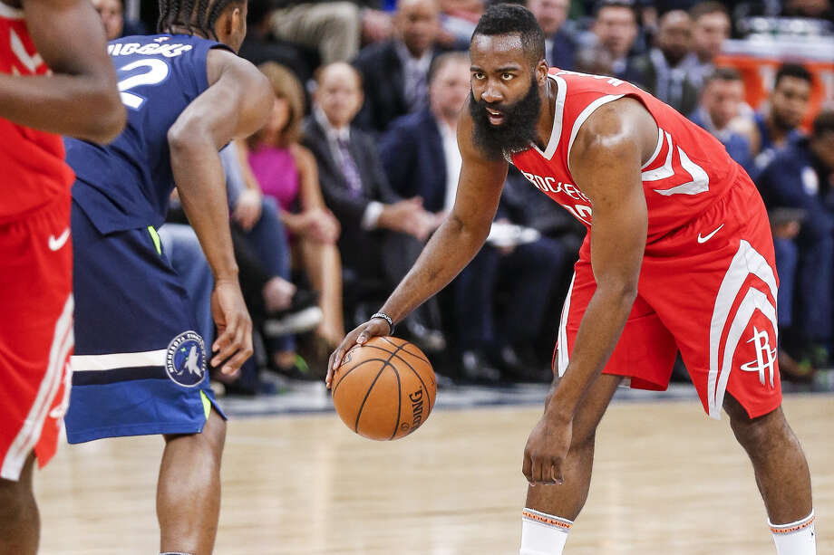 James Harden, sizing up his move against Minnesota's Andrew Wiggins in the first round, has been the best one-on-one scorer in the playoffs. Photo: Michael Ciaglo, Michael Ciaglo/Houston Chronicle