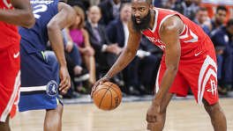 James Harden, sizing up his move against Minnesota's Andrew Wiggins in the first round, has been the best one-on-one scorer in the playoffs.
