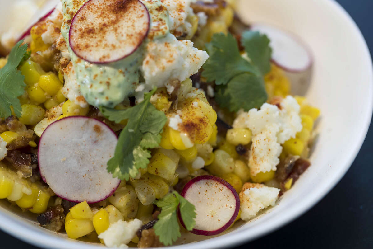 Elote, a dish from chef Dominick Lee at Poitin, a new restaurant opening May 14 at 2313 Edwards at Sawyer Yards.