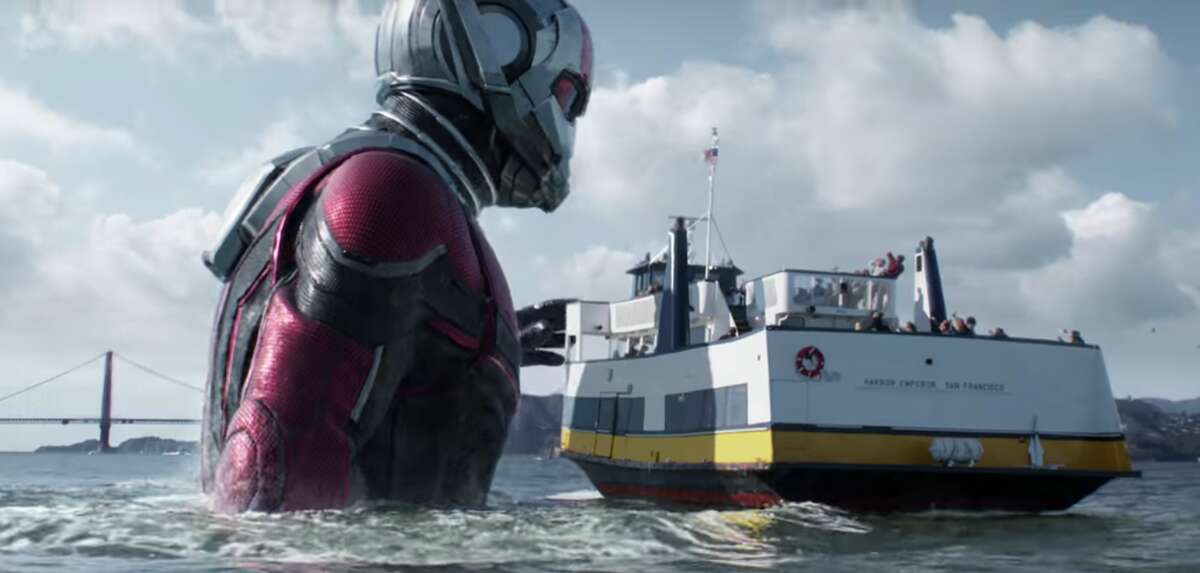 """A still from the """"Ant-Man and the Wasp"""" trailer depicts Ant-Man Scott Lang (Rudd) in the San Francisco Bay."""