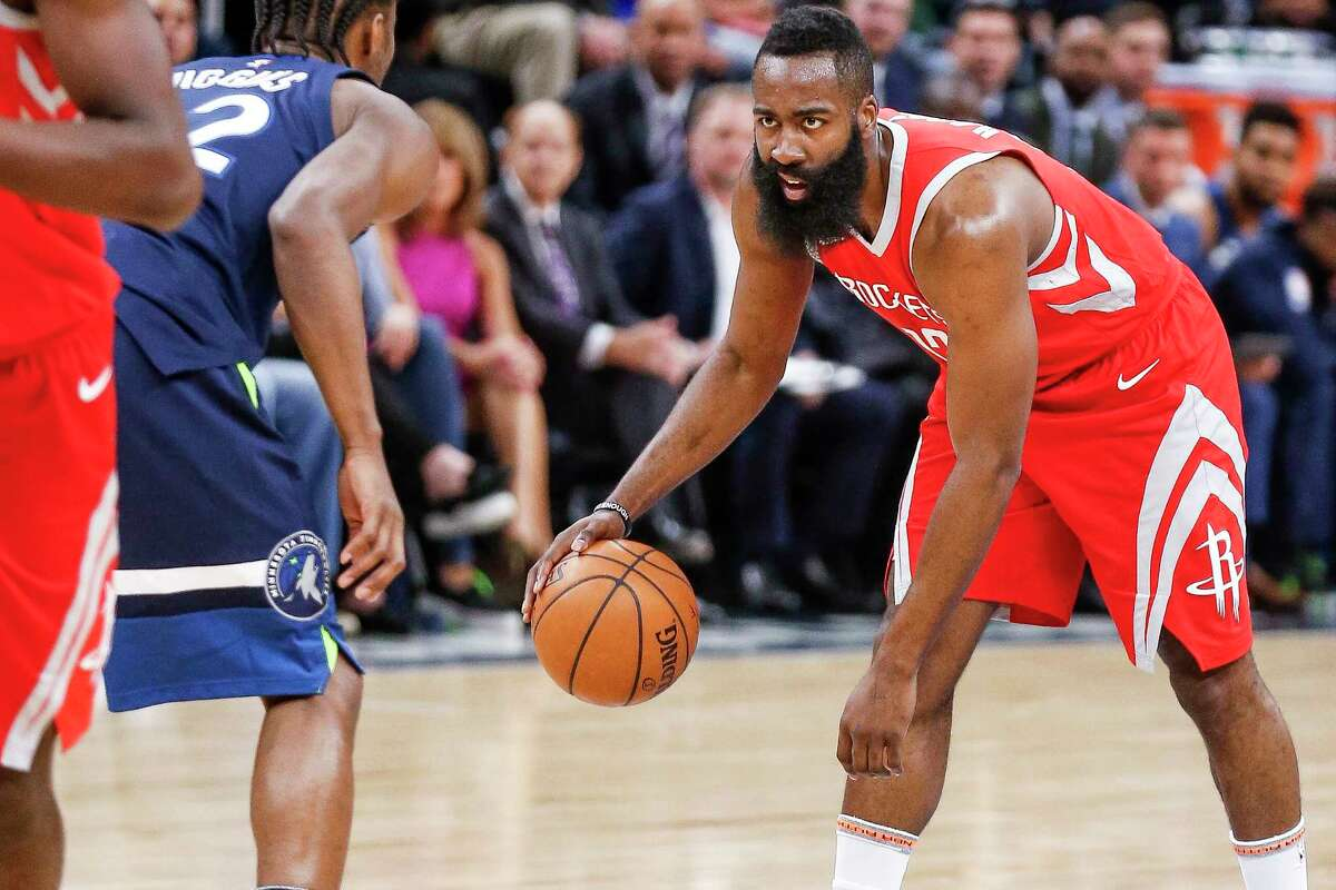 PHOTOS: Former Texas high school stars in the NBA  Houston Rockets guard James Harden (13) dribbles down the court as the Houston Rockets take on the Minnesota Timberwolves in the first half of Game 4 of the first round of the NBA Playoffs at Target Center Monday, April 23, 2018 in Minneapolis.  >>>Browse through the photos for a look at players on 2018-19 NBA rosters who played high school basketball in the state of Texas ...