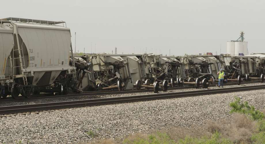 Train cars derailed late 05/01/18 morning from a train traveling East, leaving Odessa toward Midland, along the tracks by Hwy 80, across from Odessa Country Club, just West of Faudree Raod. Tim Fischer/Reporter-Telegram Photo: Tim Fischer/Midland Reporter-Telegram