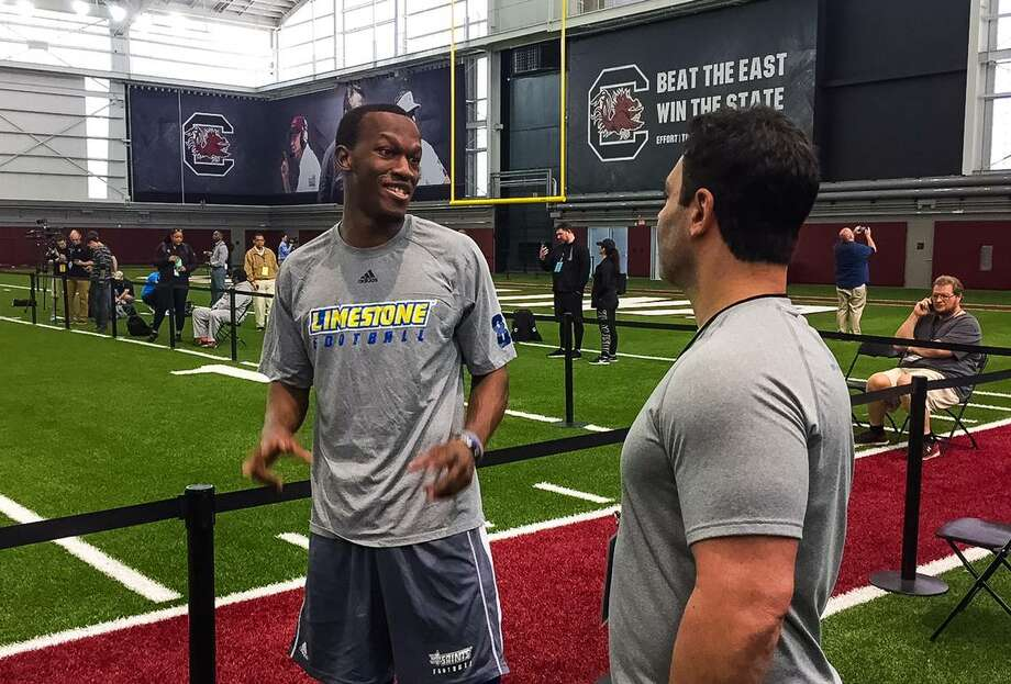 Limestone receiver Vyncint Smith at a pro day held at South Carolina. Photo: The State