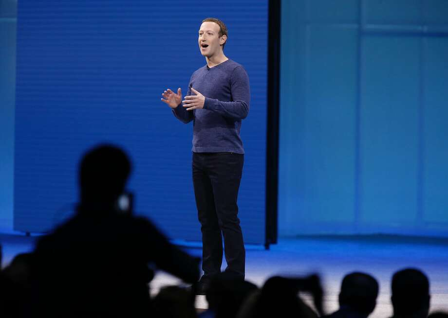 Mark Zuckerberg delivers a keynote address at the Facebook F8 developers conference in San Jose Tuesday. Photo: Paul Chinn / The Chronicle