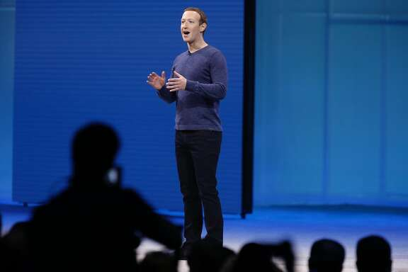 Mark Zuckerberg delivers the keynote speech at the Facebook F8 developers conference to begin in San Jose, Calif. on Tuesday, May 1, 2018.