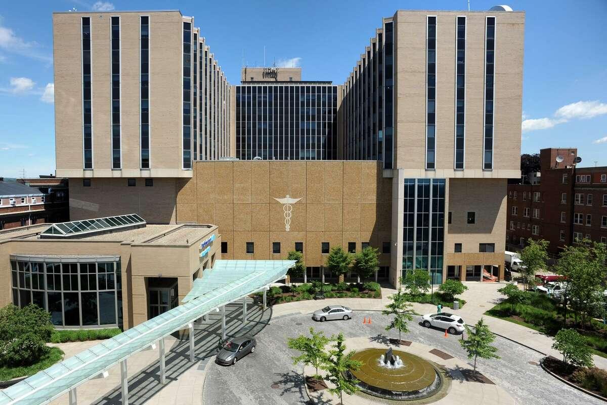 Exterior of Bridgeport Hospital, in Bridgeport, Conn