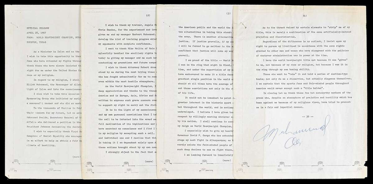 An original four-page typed press release signed by legendary boxer Muhammad Ali following his refusal to be inducted into the U. S. Army in Houston 51 years ago sold at auction for $19,200 this past weekend. Originally in the possession of news reporter Dan Lovett, the item was auctioned off by the Robert Edward Auctions company. See more photos from Ali's time in Houston...