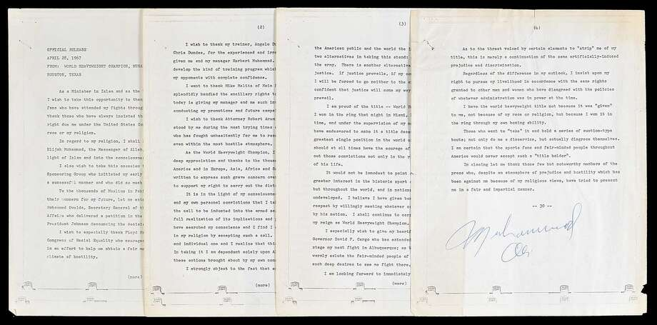 An original four-page typed press release signed by legendary boxer Muhammad Ali following his refusal to be inducted into the U. S. Army in Houston 51 years ago sold at auction for $19,200 this past weekend.  Originally in the possession of news reporter Dan Lovett, the item was auctioned off by the Robert Edward Auctions company.  See more photos from Ali's time in Houston... Photo: Robert Edward Auctions