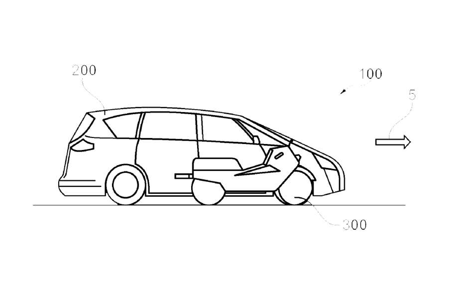 "Ford has filed a patent for a ""Vehicle with an integrated electric motorcycle,"" to help drivers navigate congested cities. Photo: Ford"