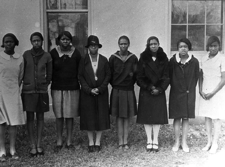 Artemisia Bowden, in hat, with a group of students at St. Philip's. Photo: Courtesy