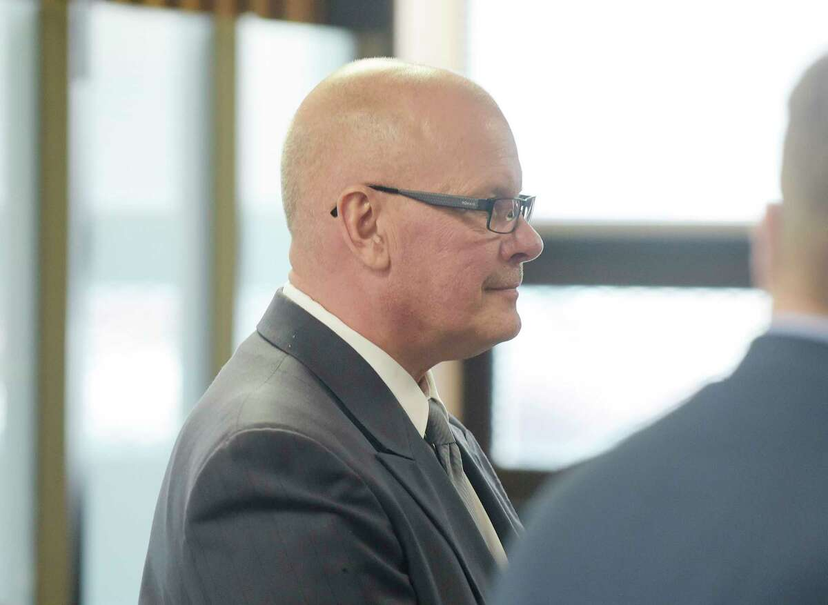 David Goodwin, a Galway police sergeant, appears in Albany City Court to respond to charges related to alleged falsifying records on Tuesday, May 1, 2018, in Albany, N.Y. (Paul Buckowski/Times Union)