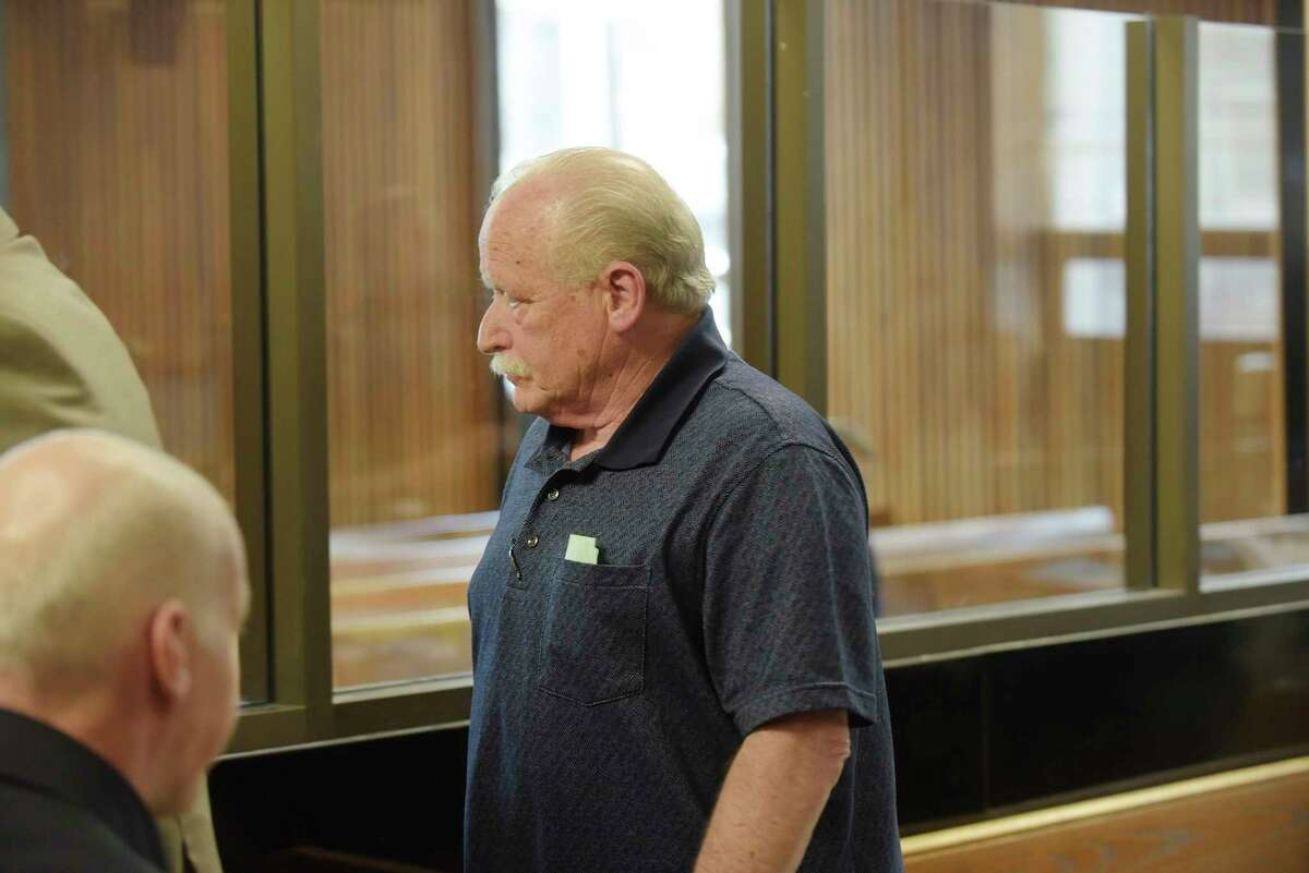 Leslie Klein, the Galway police chief, appears in Albany City Court to respond to charges related to alleged falsifying records on Tuesday, May 1, 2018, in Albany, N.Y. (Paul Buckowski/Times Union)