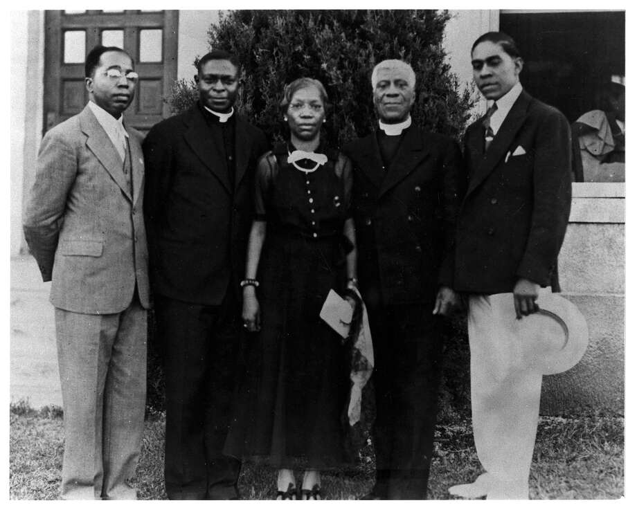 Artemisia Bowden, founder of St. Philip's College, is pictured with several people in the late 1920s or early 1930s with her brother, the Rev. Henry J.C. Bowden, second from right. He was priest-in-charge at St. Philip's Episcopal Church from 1929 to 1931. Photo: Courtesy