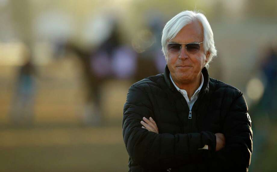 Trainer Bob Baffert watches a morning workout at Churchill Downs Tuesday, May 1, 2018, in Louisville, Ky. The 144th running of the Kentucky Derby is scheduled for Saturday, May 5. (AP Photo/Charlie Riedel) Photo: Charlie Riedel, STF / Copyright 2018 The Associated Press. All rights reserved.