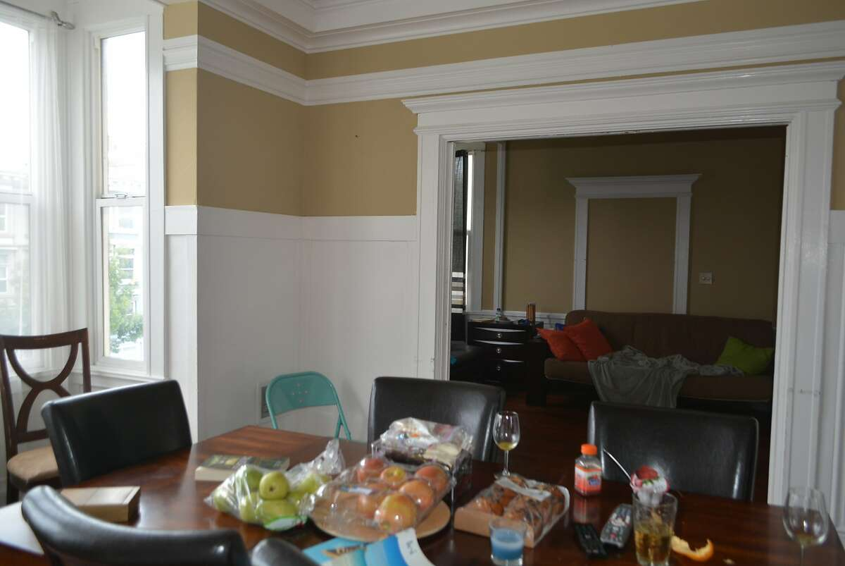An apartment at 826 Masonic is shown with high-end staging for its Airbnb listing photos, and with more-disheveled looking staging before a tour by city investigators. A legal motion says this apartment and others illegally rented on Airbnb had identical staging of Costco bags of fruit and other items to make them appear inhabited by permanent tenants.