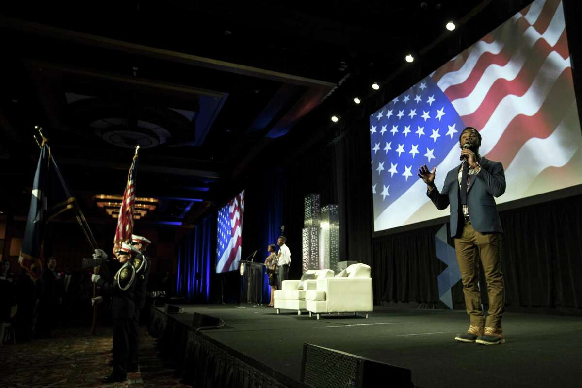 Chaundre Broomfield, a cast member of the musical Hamilton, sings the National Anthem during the State of the City address, presented by the Greater Houston Partnership, on Tuesday, May 1, 2018, in Houston. ( Brett Coomer / Houston Chronicle )