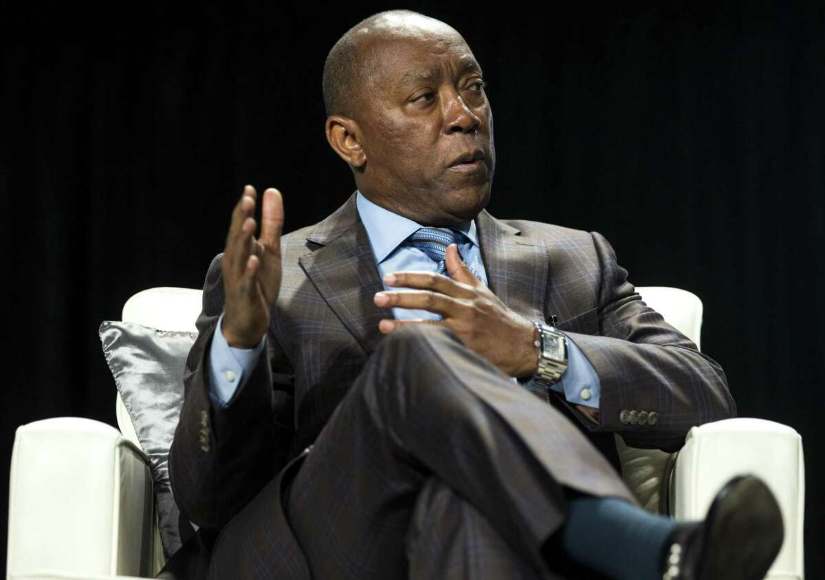 """Mayor Sylvester Turner answers a question during a 'fireside chat"""" following the State of the City address, presented by the Greater Houston Partnership, on Tuesday, May 1, 2018, in Houston. ( Brett Coomer / Houston Chronicle )"""