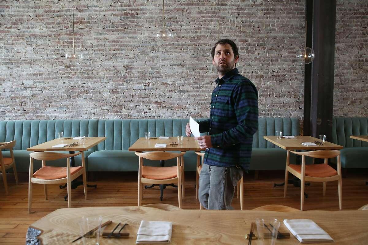 Chef Chris Bleidorn checks his new restaurant Birdsong while under construction on Thursday, April 26, 2018, in San Francisco, Calif.
