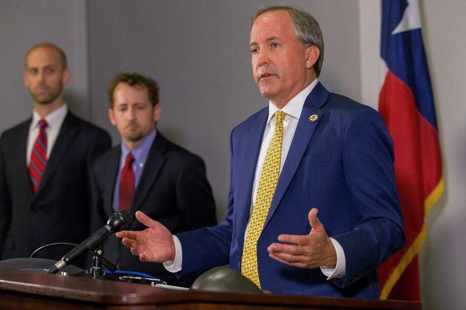 Texas Attorney General Ken Paxton announces his lawsuit against the federal government to end the Deferred Action for Childhood Arrivals (DACA) at his office in downtown Austin, Tuesday, May 1, 2018. This lawsuit from the State of Texas will be joined by Alabama, Arkansas, Louisiana, Nebraska, South Carolina and West Virginia. (Stephen Spillman / for Express-News) Photo: Stephen Spillman / Stephen Spillman / stephenspillman@me.com Stephen Spillman