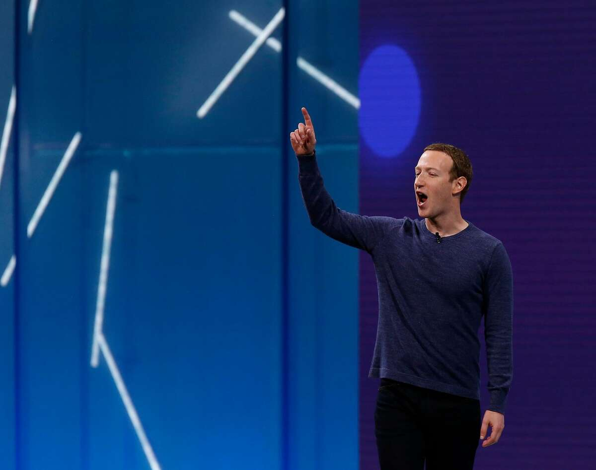 Mark Zuckerberg delivers the keynote address at the Facebook F8 developers conference in San Jose, Calif. on Tuesday, May 1, 2018.