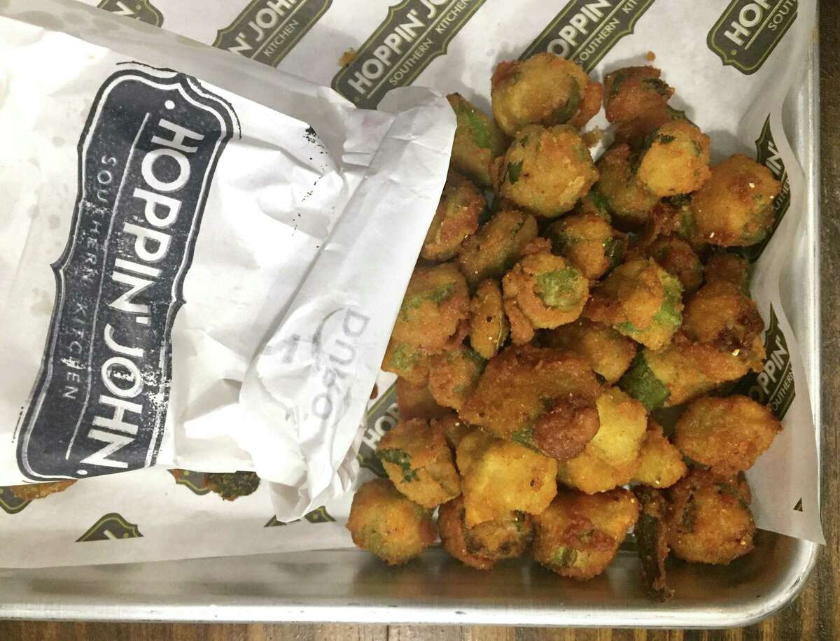 Fried okra at Hoppin' John is hand-breaded with a seasoned flour and cornmeal mixture.