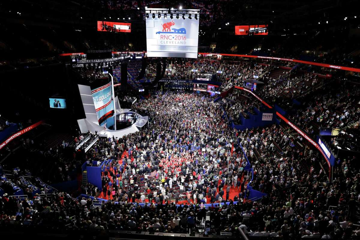 Mayor Ron Nirenberg says the costs to cities hosting the parties' national conventions are potentially too high, among them the security costs. Shown here, the crowd at the Republican National Convention in Cleveland in 2016.