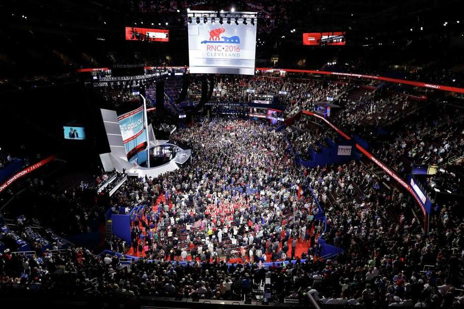 Mayor Ron Nirenberg says the costs to cities hosting the parties' national conventions are potentially too high, among them the security costs. Shown here, the crowd at the Republican National Convention in Cleveland in 2016. Photo: Matt Rourke /Associated Press / Copyright 2016 The Associated Press. All rights reserved. This material may not be published, broadcast, rewritten or redistribu