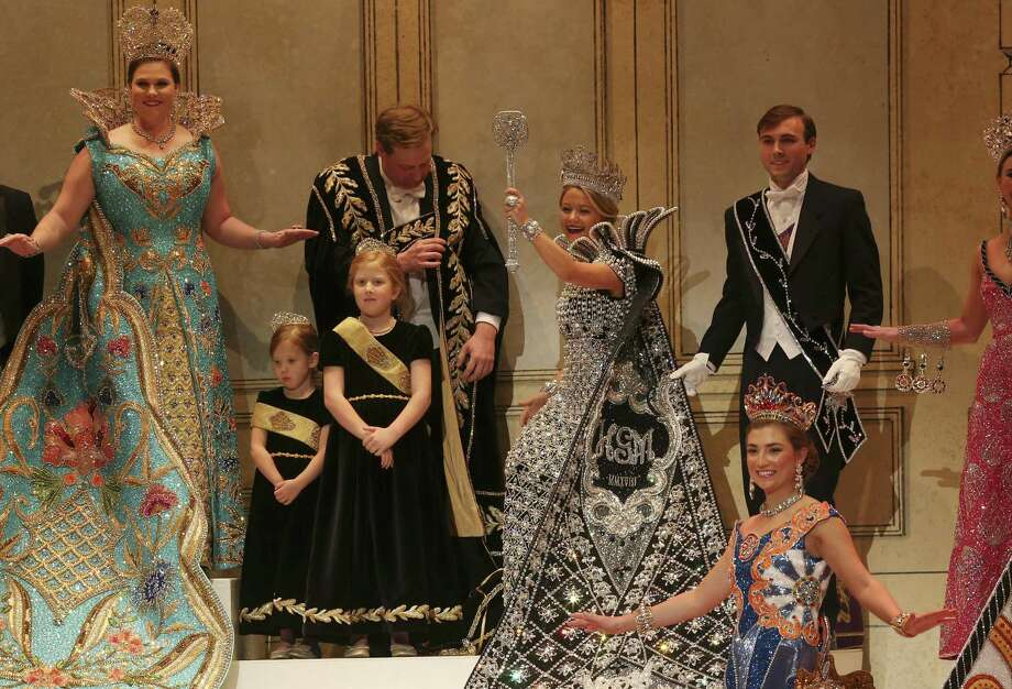 Some Fiesta naysayers are bothered that only members of wealthy families, such as Josephine Tinsley Simpson, shown here after her coronation as the Queen of the Court of Classic Couture of the Order of the Alamo in 2018, are eligible to serve in royal positions Photo: Jerry Lara /Staff File Photo / San Antonio Express-News